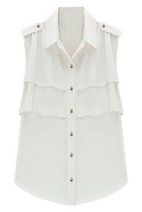 sleeveless layered ruffle chiffon shirt